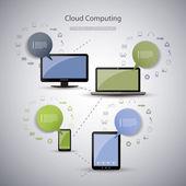 Cloud Computing Concept — Stok Vektör