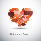 Talk about Love - Heart Made of Speech Bubbles — Stock Vector