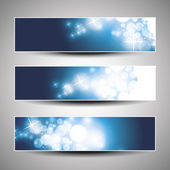 Set of horizontal Christmas or New Years banners — Stock Vector
