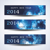 Set of Horizontal New Year Banners - 2014 — Stock Vector