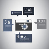 Infographic Design - Retro Camera with Speech Bubbles — Vettoriale Stock