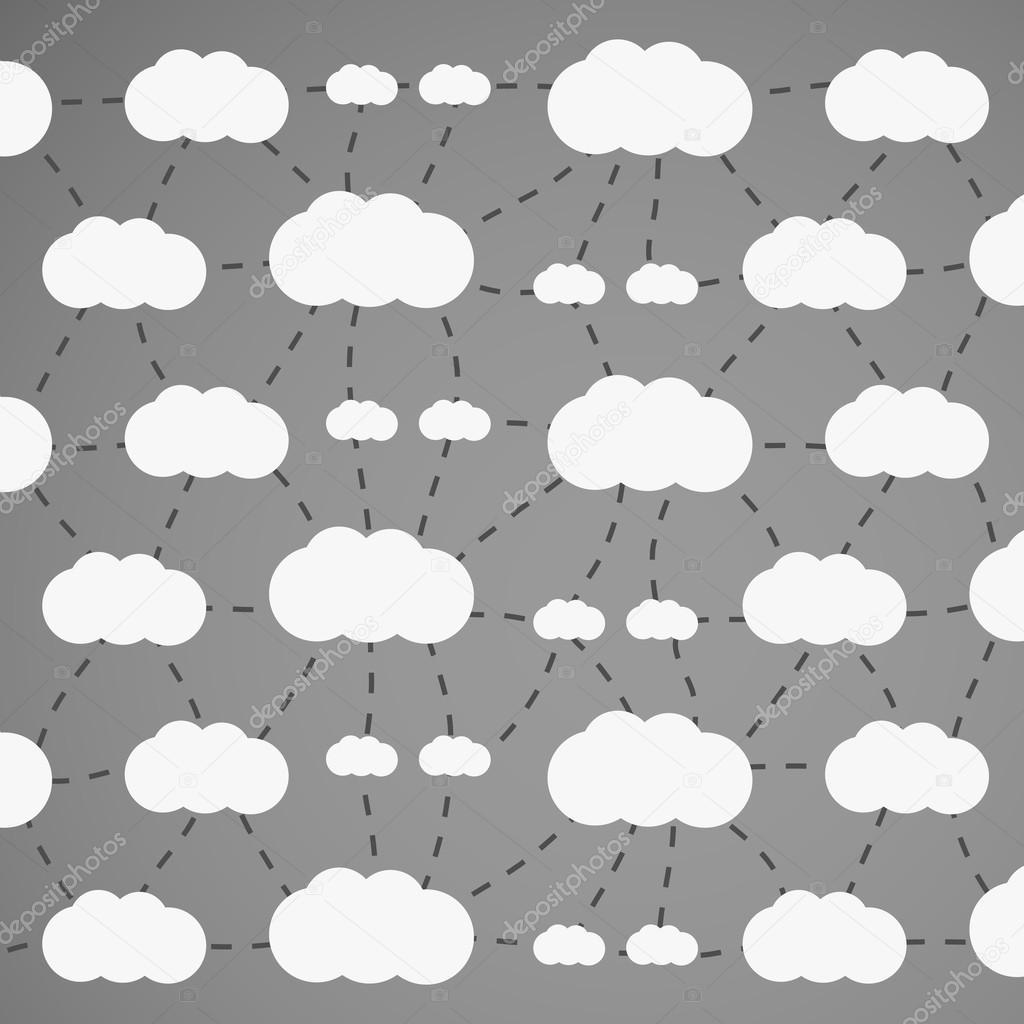 灰色的云计算概念或图案背景设计与连接云-在可编辑