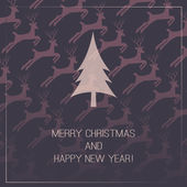 Christmas Card with Deers Pattern — Vector de stock