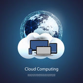 Global Networks, Cloud Computing - Illustration for Your Business — Stock Vector
