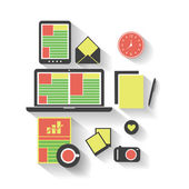 Business, Home, Office - Flat Icon Design Set — Stock Vector