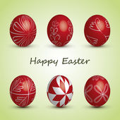 Happy Easter Card - Set of Six Red Eggs with Ornaments — Stockvector