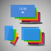 Laptop, Smart Phone and Tablet Icons with Colorful Layers — Vecteur