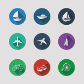 Flat UI Icons for Web and Mobile Applications - Transportation — Stock Vector