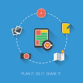 Plan it. Do it. Share it. - Flat Design Concept — Stock Vector