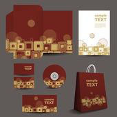 Stationery Template, Corporate Image Design  - Urban Retro Style — Stock Vector