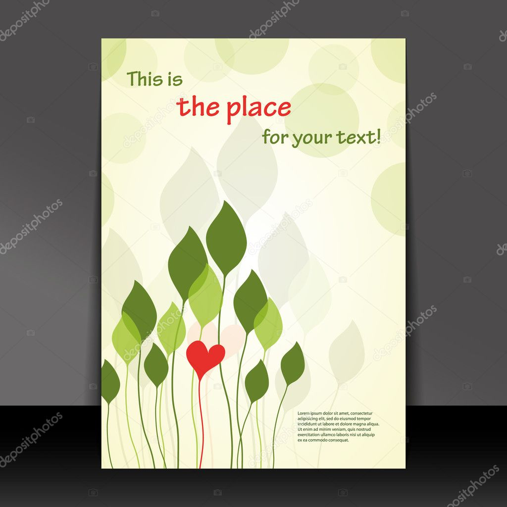 Illustration Book Cover Sample ~ In love with nature flyer or cover design — stock vector