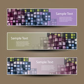 Banner or Header Designs with Squares Pattern — Stock Vector