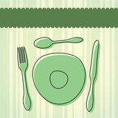Cutlery and Plate — Stock Vector
