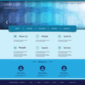 Website Template with Abstract Blue 3D Squares Header — Stock Vector