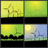 Four Eco Backgrounds with Wind Turbines — Stock Vector
