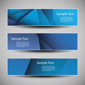 Banner or Header Designs with Blue Abstract Geometric Pattern — Stok Vektör