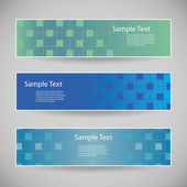 Banner or Header Designs with Abstract Blue Checkered Pattern — Stockvector