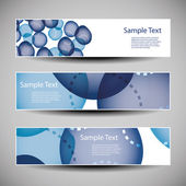 Banner or Header Designs with Abstract Blue Bubbly Pattern — Stock Vector