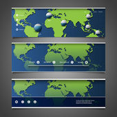 Web Design Elements - Header Designs with World Map — Stockvector