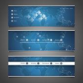 Elementos de design de web - design de cabeçalho com o mapa do mundo — Vetor de Stock