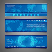 Web Design Elements - Abstract Header Designs with Earth Globe — Stockvector