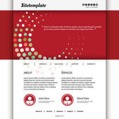 Website Template Design with Red Abstract Dotted Rings Header — Stock Vector