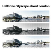 Halftone Panoramas - City of London — Stock Vector
