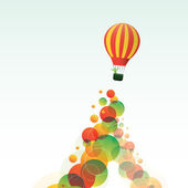 Hot Air Balloon on the Sky with Colorful Bubbles — Vector de stock