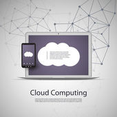 Cloud Computing and Networks Concept with Laptop Computer and Smart Phone — Stock Vector