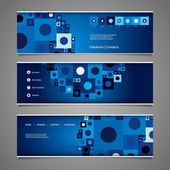 Web Design Elements - Abstract Retro Styled Header Designs with Tiles — Stock Vector