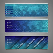 Web Design Elements - Abstract Header Designs with Dotted World Map — Stockvektor