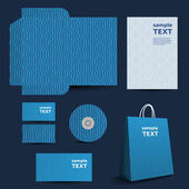 Modelo del papel, diseño de imagen corporativa con el patrón a cuadros y rayas — Vector de stock