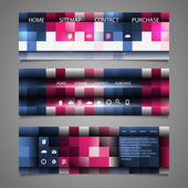 Web Design Elements - Abstract Header Designs with Colorful Checkered Pattern — Stockvector