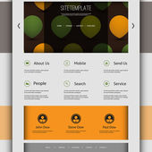 Website Template with Abstract Header Design - Circles, Drops — Stock Vector