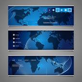 Web-design-elemente - kopf designs mit weltkarte — Stockvektor