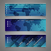 Web Design Elements - Header Designs with World Map — Stock Vector