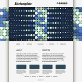 Website Template with Dotted Blue Header Design — Stock Vector
