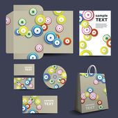 Stationery Template, Corporate Image Design with Colorful Circles — Stock Vector