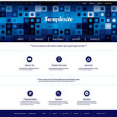 Website Template with Blue Abstract Header Design — Vettoriale Stock