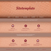 Website Template with Abstract Header Design - Curves, Rings — Stock Vector