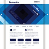 Website Template with Blue Abstract Header Design — Stock Vector