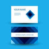 Business Card with Blue Abstract Pattern - Squares — Vetor de Stock