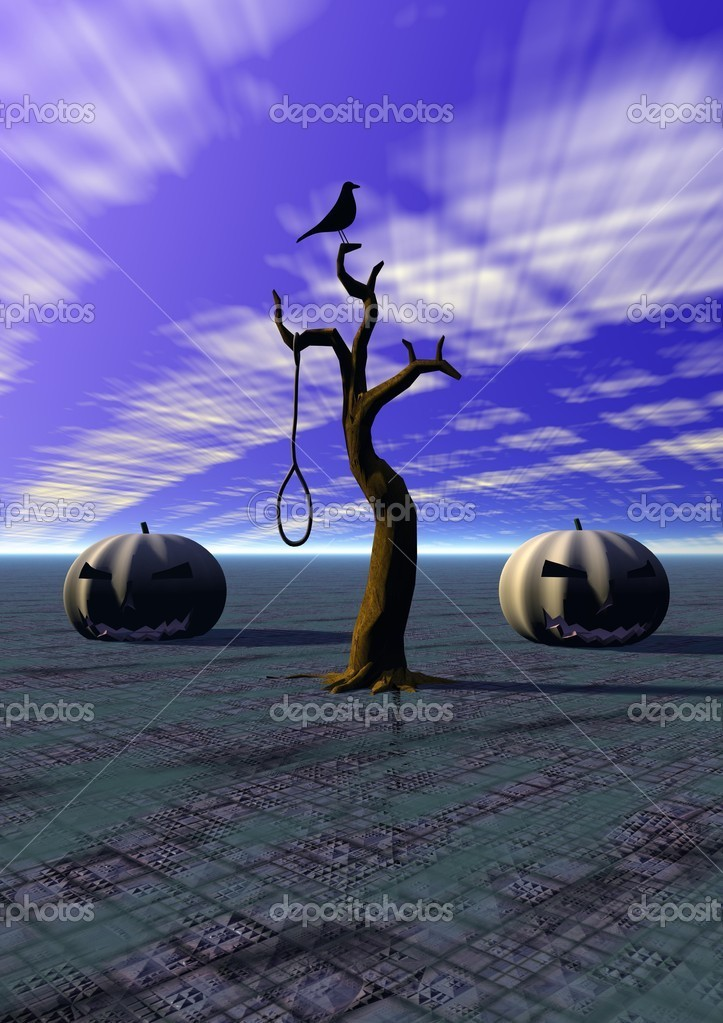 Halloween and tree and bird — Stock Photo #12881253