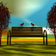 Bench and birds — Photo
