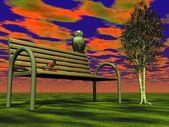 Bench and owl — Stock Photo