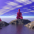 Buddha red and mountains — Stock Photo
