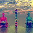 Buddha and chakra — Stock Photo