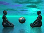 Buddha and earth blue — Stock Photo