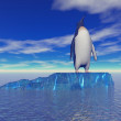 Penguin and sky blue — Stock Photo
