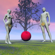 Stock Photo: Adam and eve and apple
